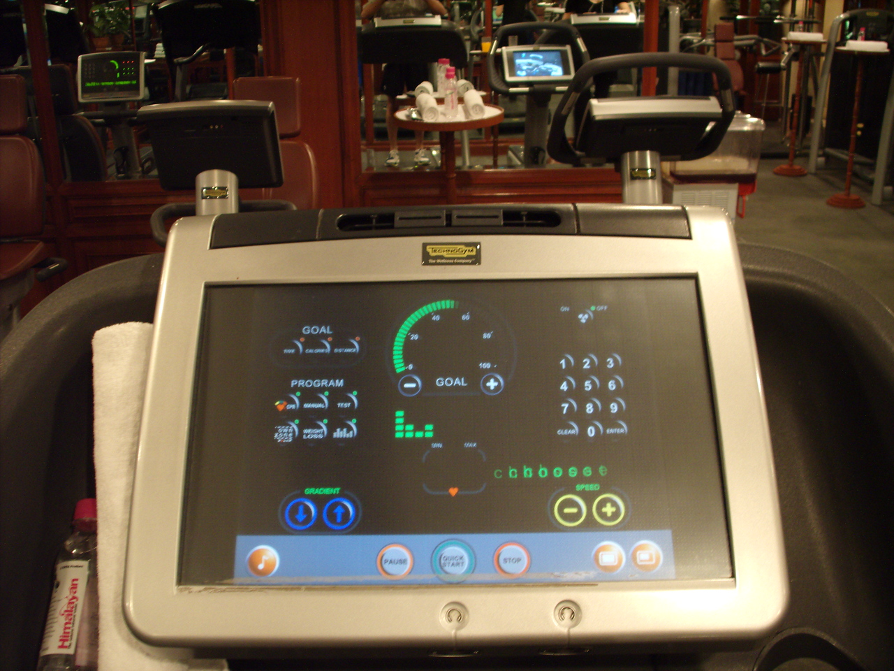 Touch screen control panel on the treadmills at the Taj Mahel Hotel gym