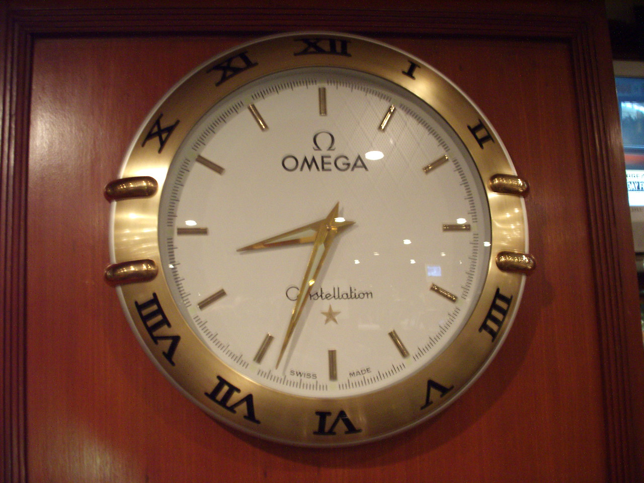 Omega wall clock at the Taj Mahal Hotel gym