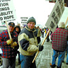 Citizen photo by David Mah Approximately 50 people gathered for an information picket calling for extension of Employment Insurance at the Service Canada office on 4th Avenue Friday at noon.