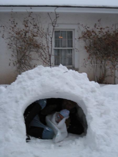 John & Boone in igloo