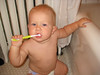 Boone brushing teeth
