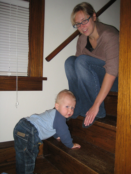 Boone climbing stairs