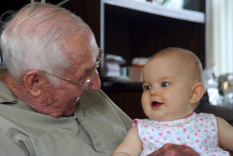 Anna loves Greatgrandpa Huck