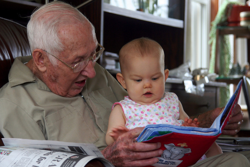 Greatgrandpa Huck teaches her about the animals
