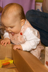 Anna checks out the box contents