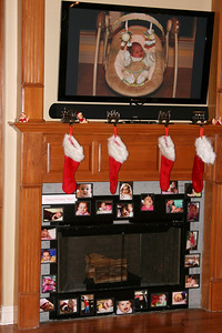 Our temporary fireplace tile work, and Brian hooked up his laptop to the TV