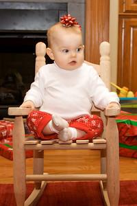 Anna got a rocking chair from Parrain & Aunt Kati!