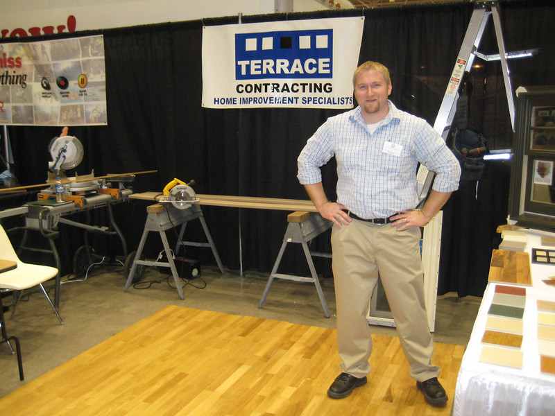 Justin at his Terrace Contracting booth