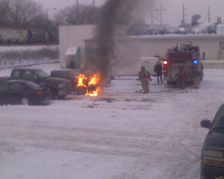 Car fire at work.
