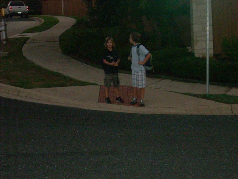 Waiting for the bus on the 2nd day of school