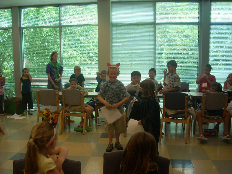 Elijah narrates a mixed-up fairy tale at Summer Wonders camp in July