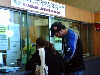Abby and Avram receive their California marriage license