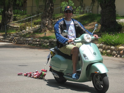 Avram on his Vespa, the day after the wedding