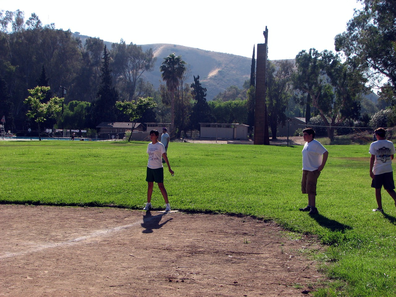 Amber (girlfriend of the brother of the bride) holds first base for Team Fifer