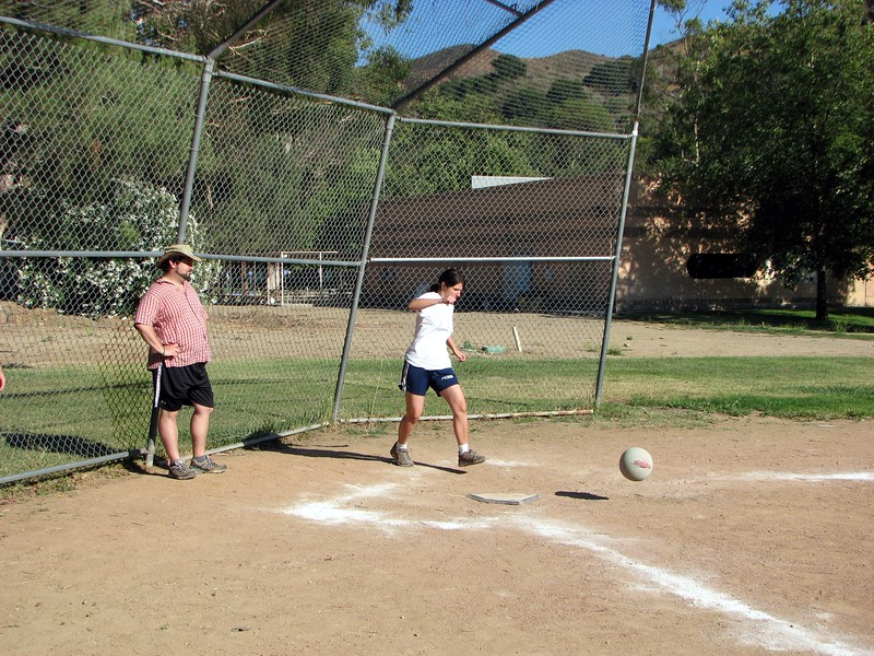 Abby at the plate for Team Fifer, while Rabbi Spey (friend of the bride and groom) catches for Team Mandell