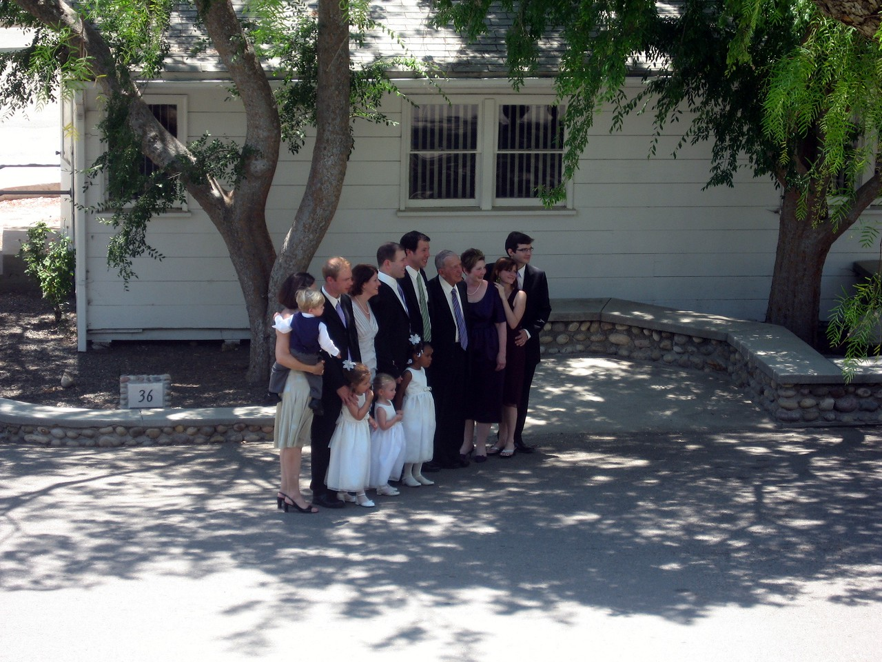 The groom's family poses for photos
