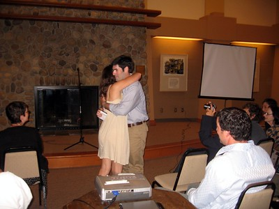Abby hugs David (brother of the bride)