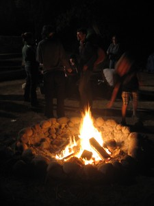 Bonfire after the talent show