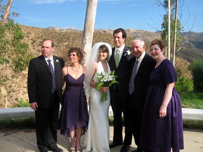 Abby and Avram with Gary (father of the bride, left), Hope (mother of the bride), Wallace (father of the groom) and Pat (stepmother of the groom)