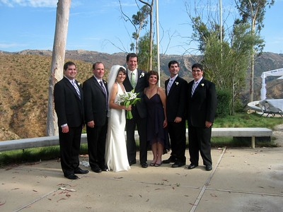 Abby and Avram with Craig (brother of the bride, left), Gary (father of the bride), Hope (mother of the bride), David (brother of the bride), and Jordan (brother of the bride)