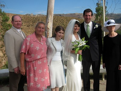 Abby and Avram with cousins of the bride Gil (l), Susan, Adeena, and Wende
