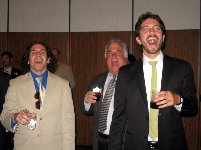 "Noam (l), Eric, and Gabe (friends of the bride) interrupt Avram with a hearty ""l'chaim!"""