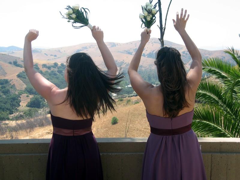Bridesmaids Rebecca (l) and Sarah air out