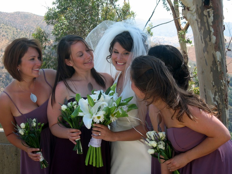 Abby with her bridesmaids, Courtney (l), Rebecca, Vicki, and Sarah