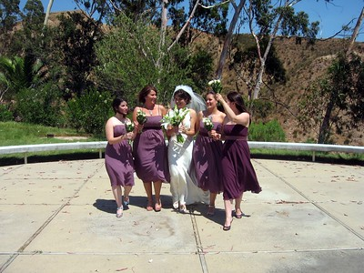 Abby and her bridesmaids, Vicki (l), Courtney, Sarah, and Rebecca