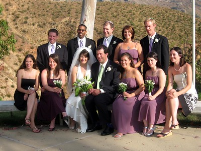 Abby and Avram with bridesmaids, groomsmen, and ushers Anita (l) and Ellie (r)