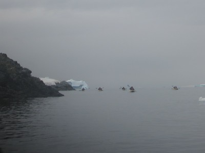 kayakers in the fog