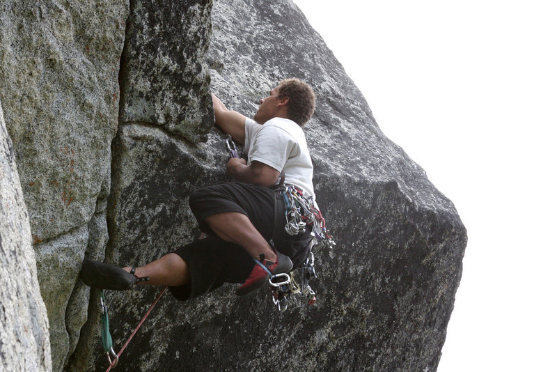 """Tricky moves even on """"aid"""" lead Kelsey over the lip and within sight of the top of this pitch."""
