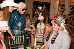 Palm Beach/Southampton Milliner Anne Moore and fashion icon Iris Apfel examine artist Brian Somerville's creative chapeau