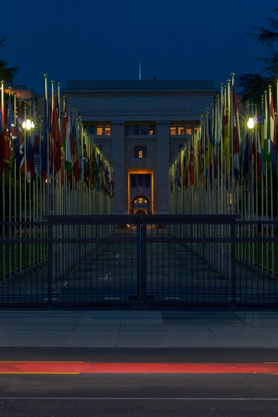 Lighting-up time • The Palais des Nations at Geneva. Originally built for the League of Nations, it now houses the largest UN office apart from the headquarters at New York.