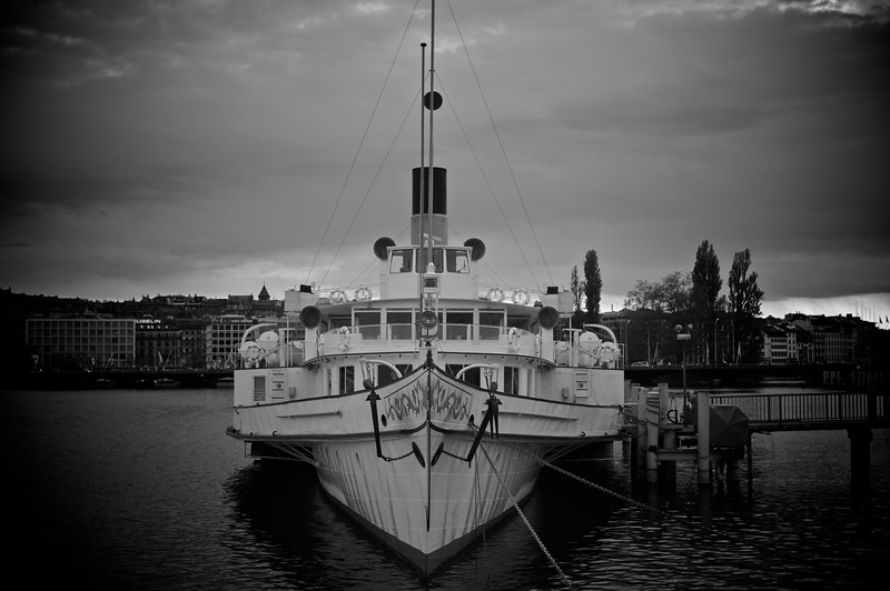 Moody (take two) • One of the paddle steamers operated by the Compagnie Générale de Navigation sur le lac Léman (CGN) as a ferry to multiple points around the lake in Switzerland and France sits moored on the north-west shore of Lake Geneva.