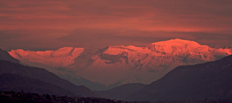 Glowing Alps • The French Alps as seen from my flat glowing in the sunset light.