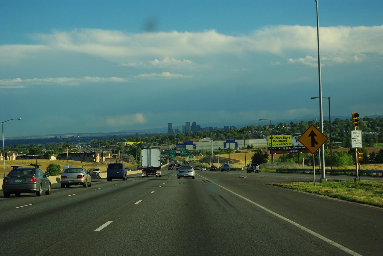 Driving into Denver