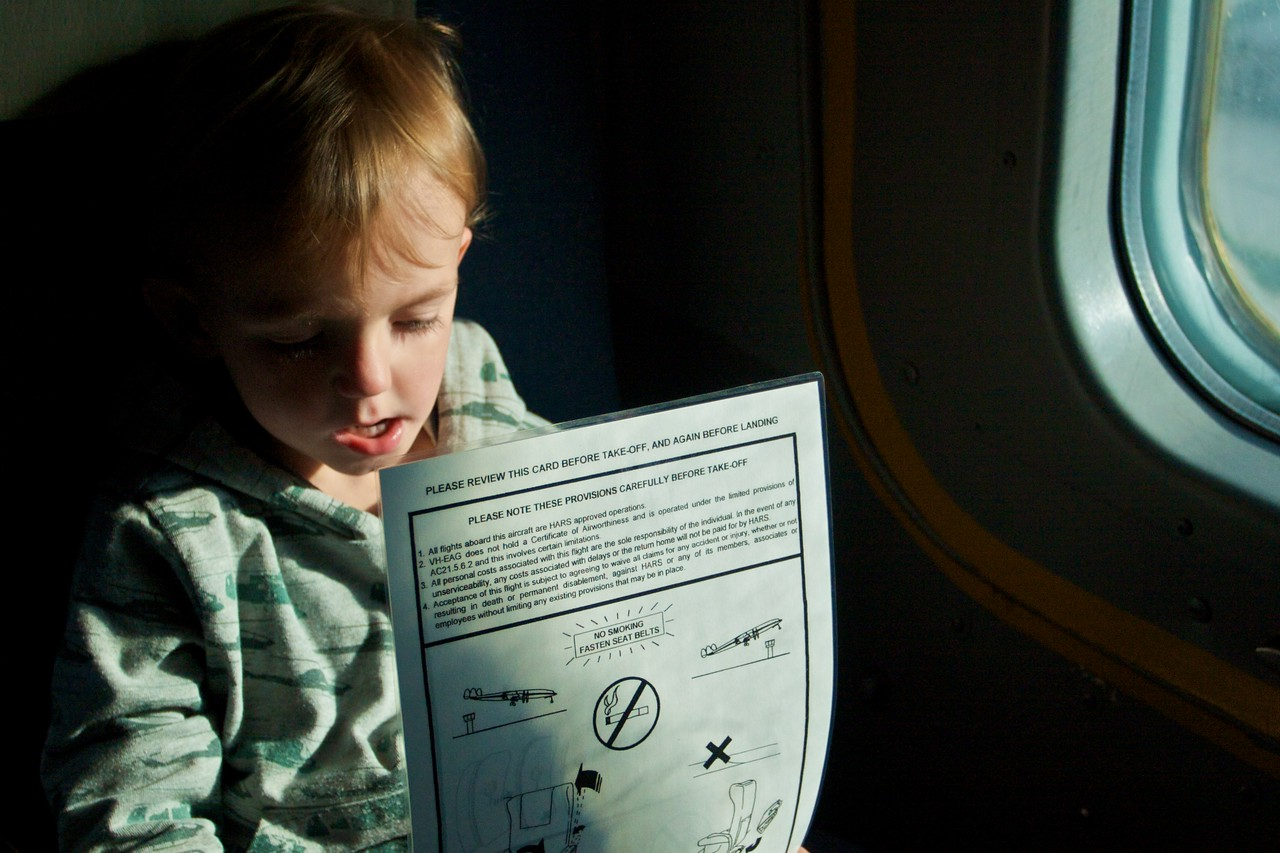 Albert examines the safety card for the HARS Super Constellation.<br /> <br /> Before Thomas' wedding the men of the family were invited to go to HARS for the day when Mary held her Kitchen Tea for the ladies. The day included a flight on the Super Constellation.