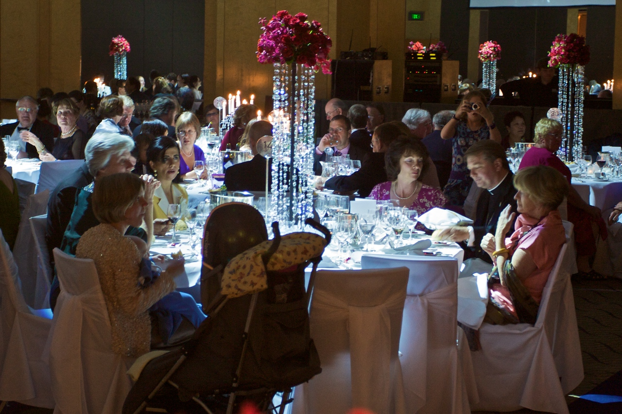 One of the tables at Thomas' and Mary's wedding reception, held in the Westin Hotel.