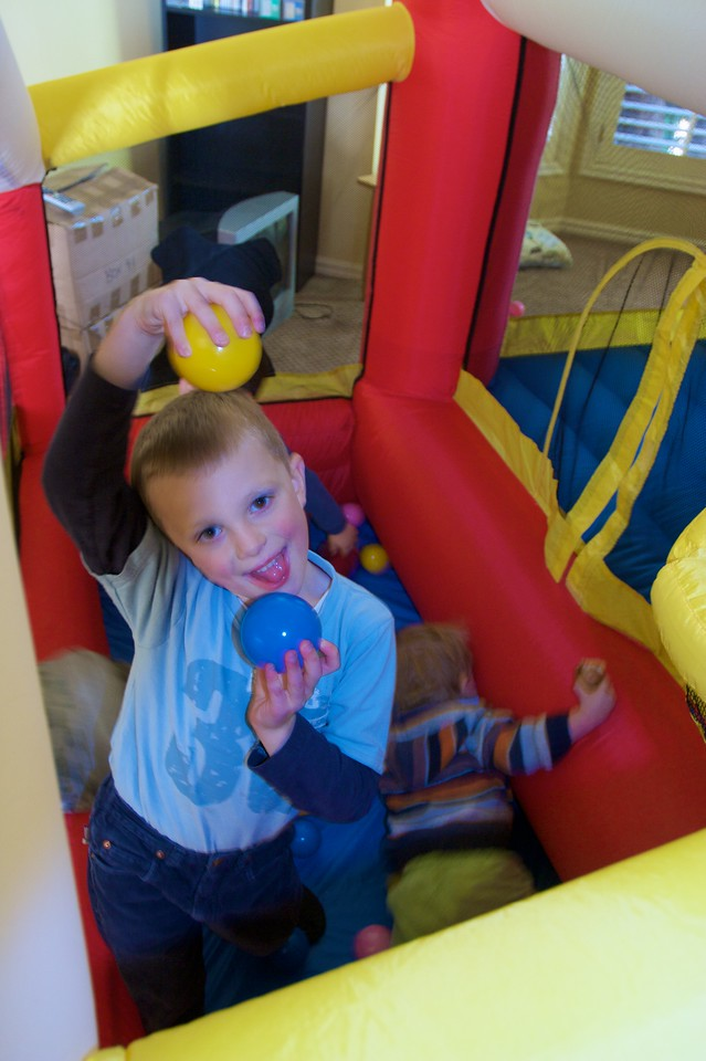 Francis playing in the bouncy castle provided by Mary's brother Rod at the family lunch held in Thomas' and Mary's new house on the Wednesday before their wedding.