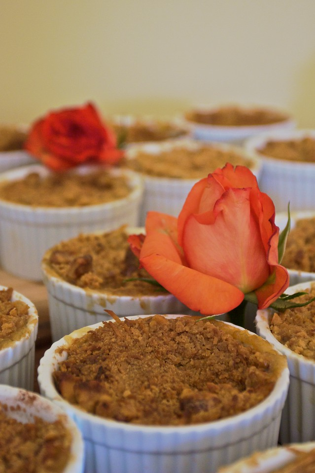 Individual apple crumbles at the family lunch held in Thomas' and Mary's new house on the Wednesday before their wedding.