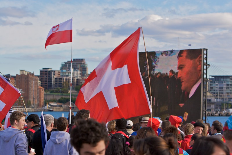 Swiss flags in evidence at Barangaroo—east Darling Harbour—before the Pope's official arrival by boat around Sydney Harbour.