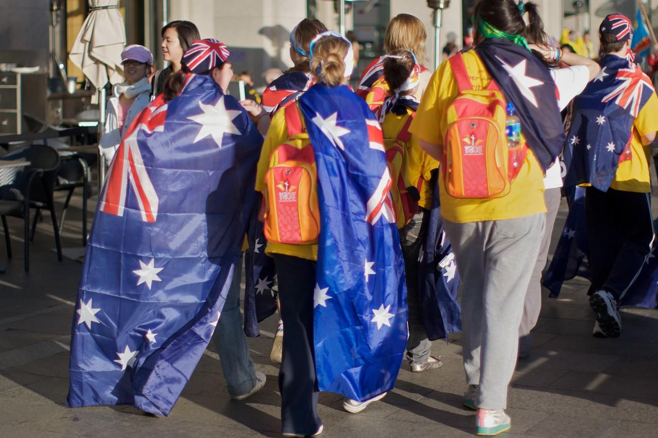 Australian pilgrims at Circular Quay.
