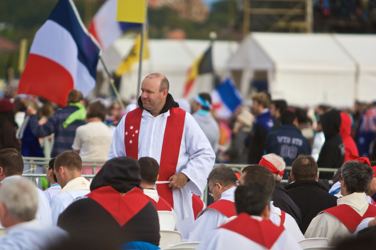 Clergy gathering before the final Mass of the World Youth Day in Sydney.