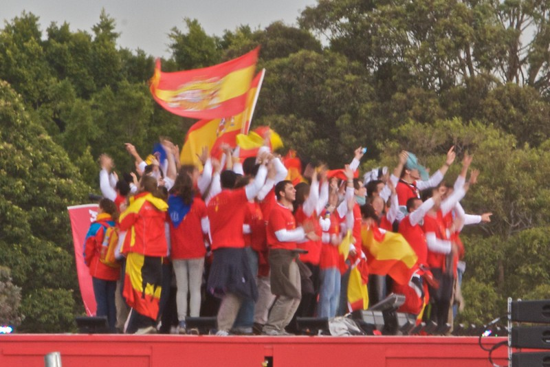 Spanish pilgrims celebrating on stage at Royal Randwick Racecourse in Sydney after the announcment that the next World Youth Day will be held in Madrid in 2011.