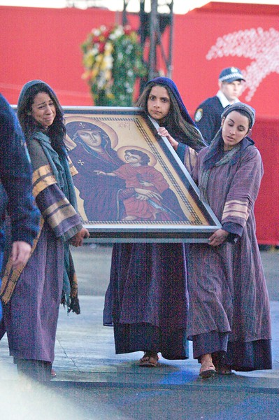 The World Youth Day icon, carried by some of the weeping women, following the re-enactment of the Stations of the Cross for the World Youth Day in Sydney.