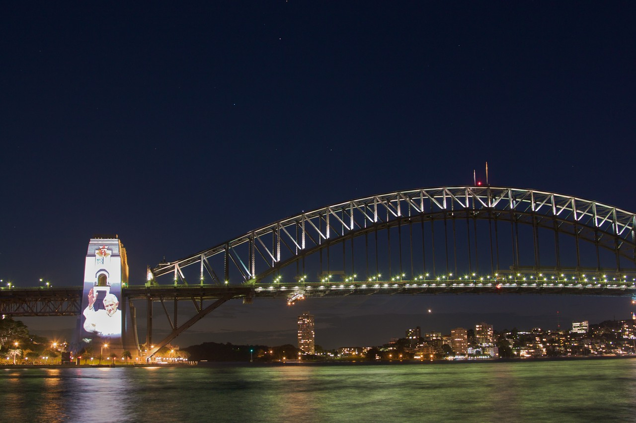 Pope Benedict XVI projected on to the south pylon of the Harbour Bridge for World Youth Day.