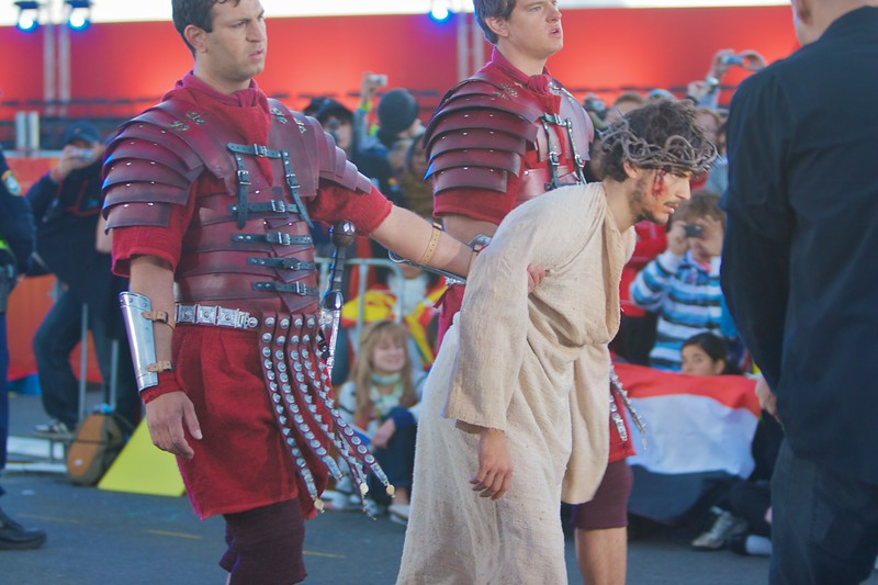 Christ being taken to Golgotha in the re-enactment of the Stations of the Cross at the World Youth Day in Sydney.
