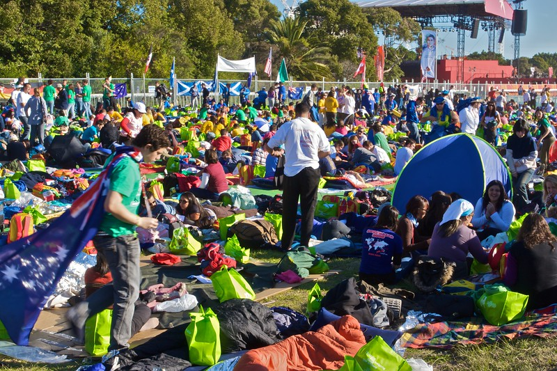 Pilgrims marking their territory for the big sleep-out at Royal Randwick Racecourse before the final Mass of the World Youth Day in Sydney.