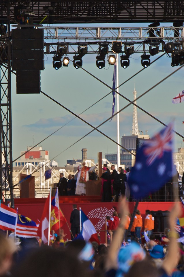 The Pope on stage at Barangaroo (east Darling Harbour) on the occasion of his official arrival for the World Youth Day in Sydney.